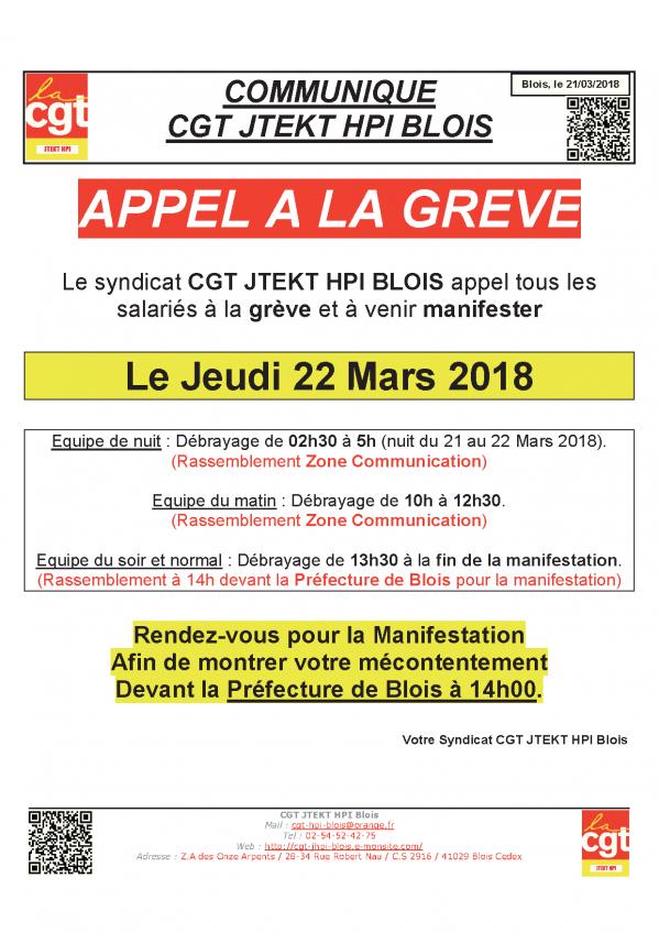 Communique appel a la greve 22 03 2018