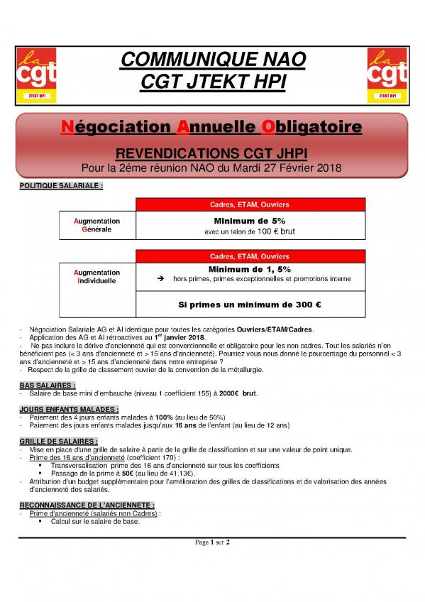 Revendications Cgt 2eme Reunion Nao 2018